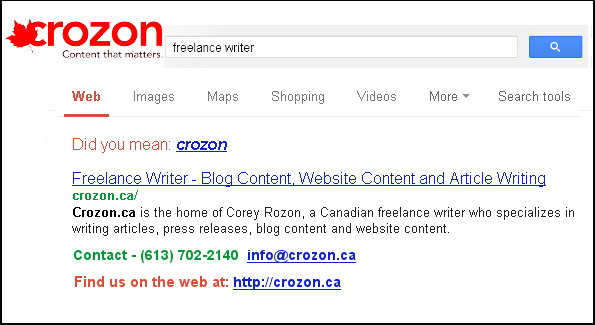 Crozon.ca Business Card